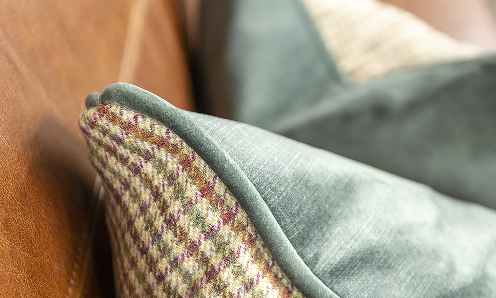 Scatter Cushions in Art of Loom Likley Check (Platinium) & Lovely Jade Gold Collection Fabric