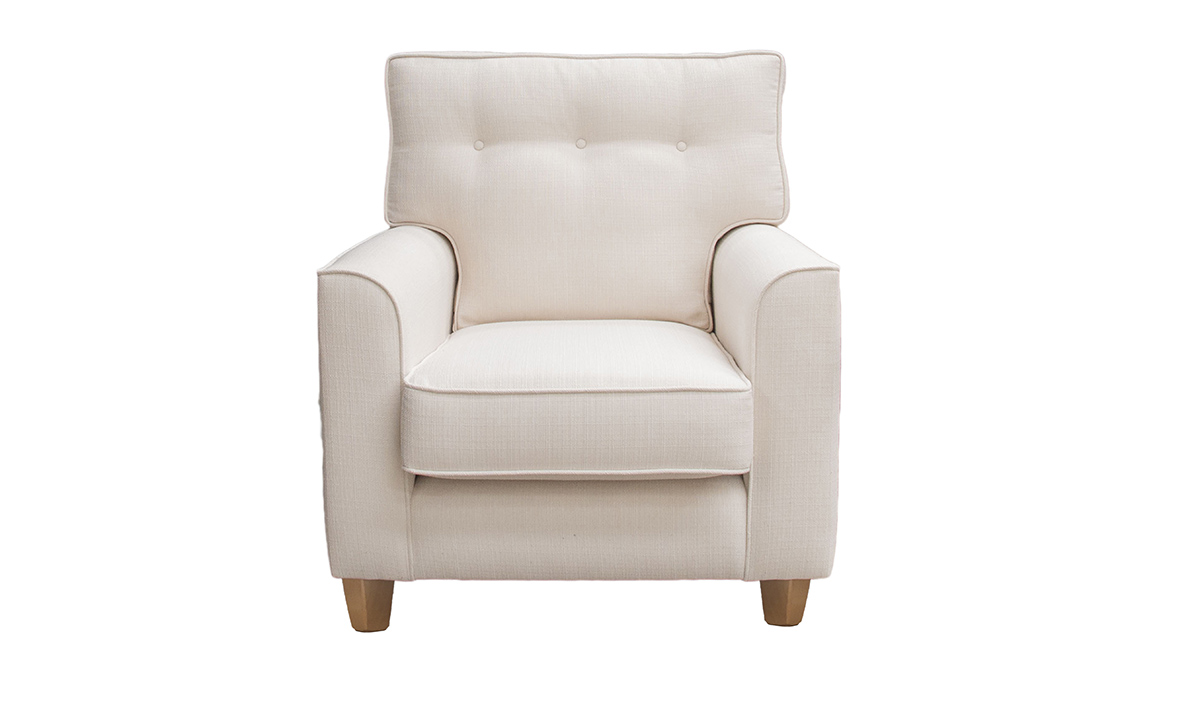 Bespoke Leon Chair with a Light Button Back in Aosta Cream, Silver Collection Fabric