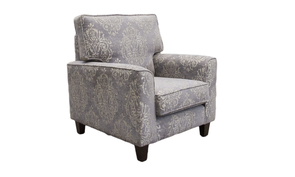 Leon Chair in Reflex Pattern, Silver Collection Fabric