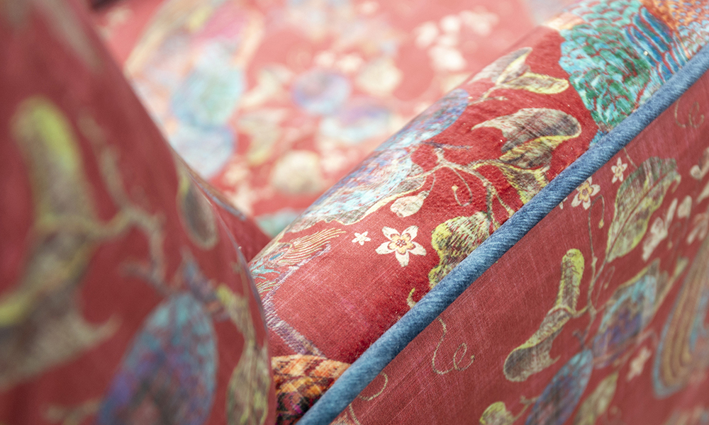 Lisa-Chair-Detail-in-Peacock-Cranberry-Platinium-Collection-Fabric-Piped-in-Edinburgh-Petrol-405860