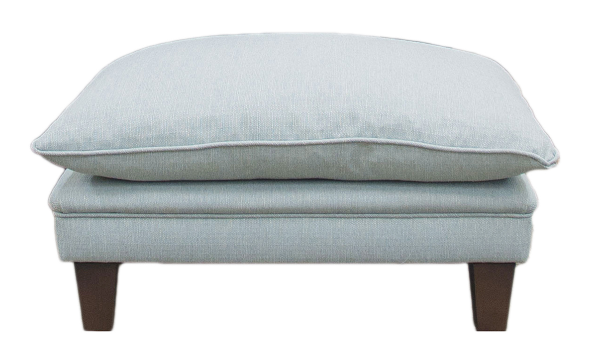 Bespoke Holmes Footstool in Aosta Duck Egg, Silver Collection Fabric