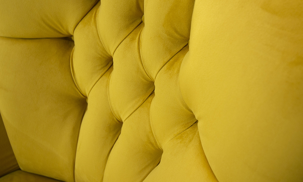 Matisse Chair Deep Button Detail in Plush Turmeric,  Silver Collection 405522