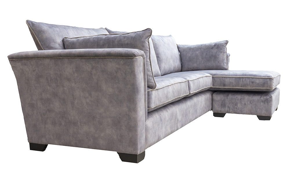 Monroe 3 Seater Chaise End Sofa in Lovely Armour, Gold Collection Fabric - 40556