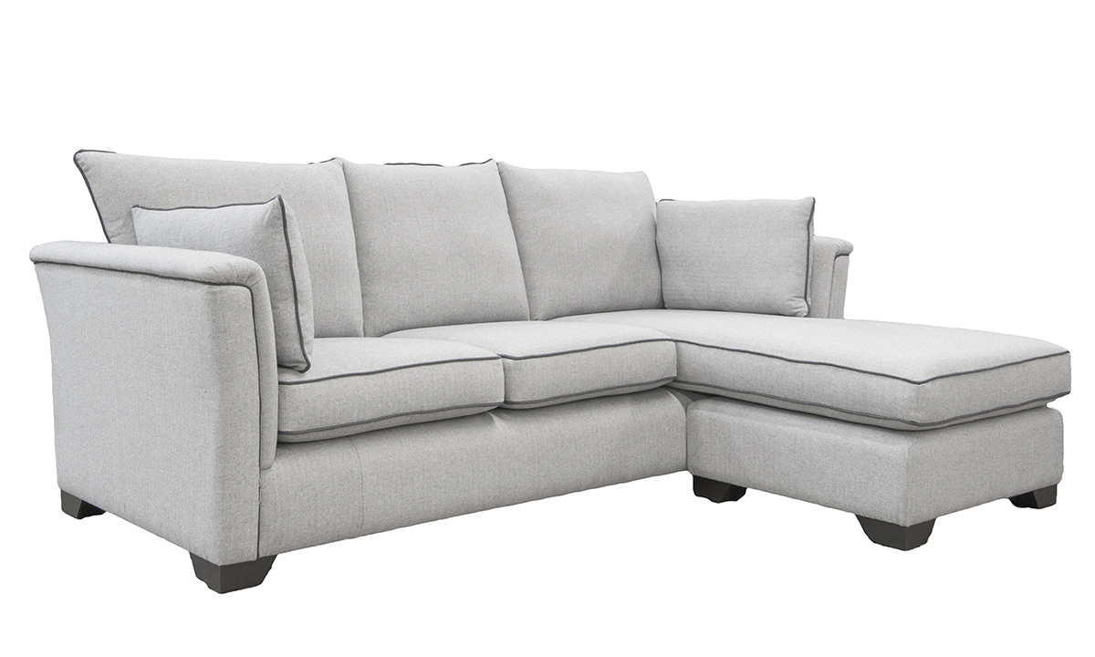 Monroe Large Chaise End Sofa, bespoke, in Foxford Fabric, Platinum Collection Fabric