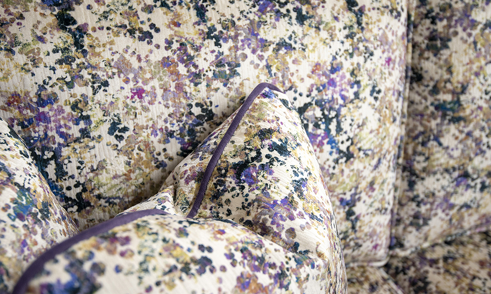 Nolan Scatter Cushion in Monet Summer, Platinum Collection, Piped in Plush Amethyst - 405543