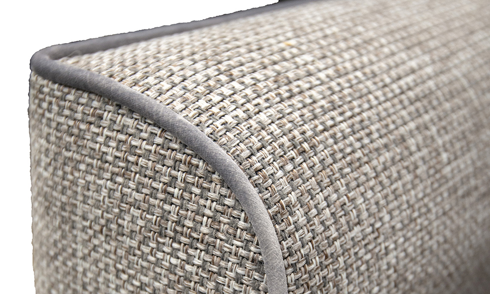 Arm Detail, Milwaukee Grey, Bronze Collection Fabric, Contrast Piped in Luxor Dolphin, Silver Collection Fabric
