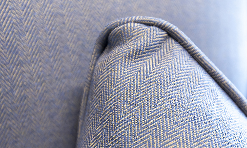 Cushion Detail in Ross Dundee Herringbone RS13629 Denim, Silver Collection Fabric