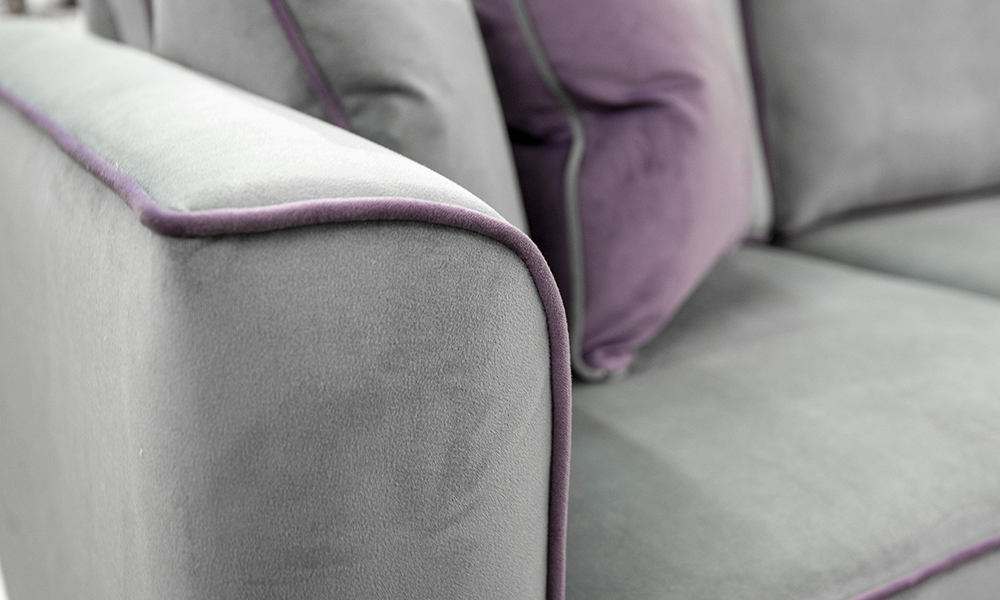 Nolan Arm Detail in Plush Nickel, Piped in Plush Amethyst Silver Collection - 405541