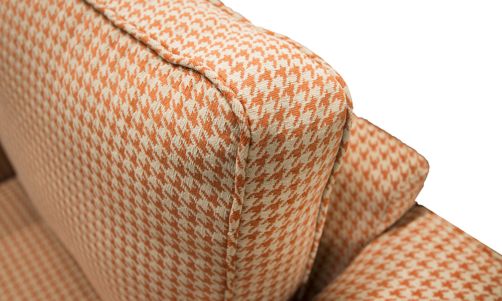 Back Cushion Detail, Poppy Orange, Silver Collection Fabric