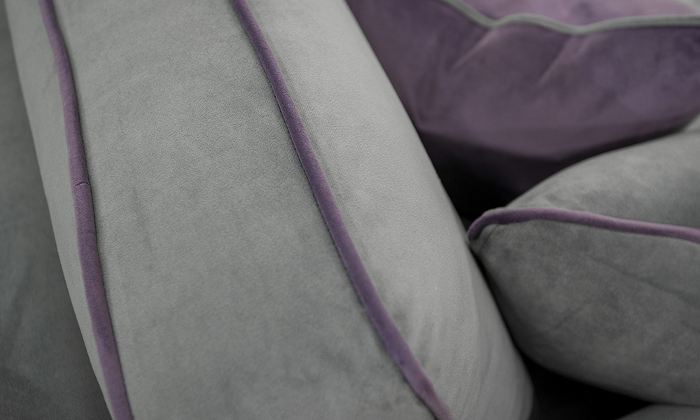 Nolan Detail in Plush Nickel, Piped in Plush Amethyst Silver Collection - 405541