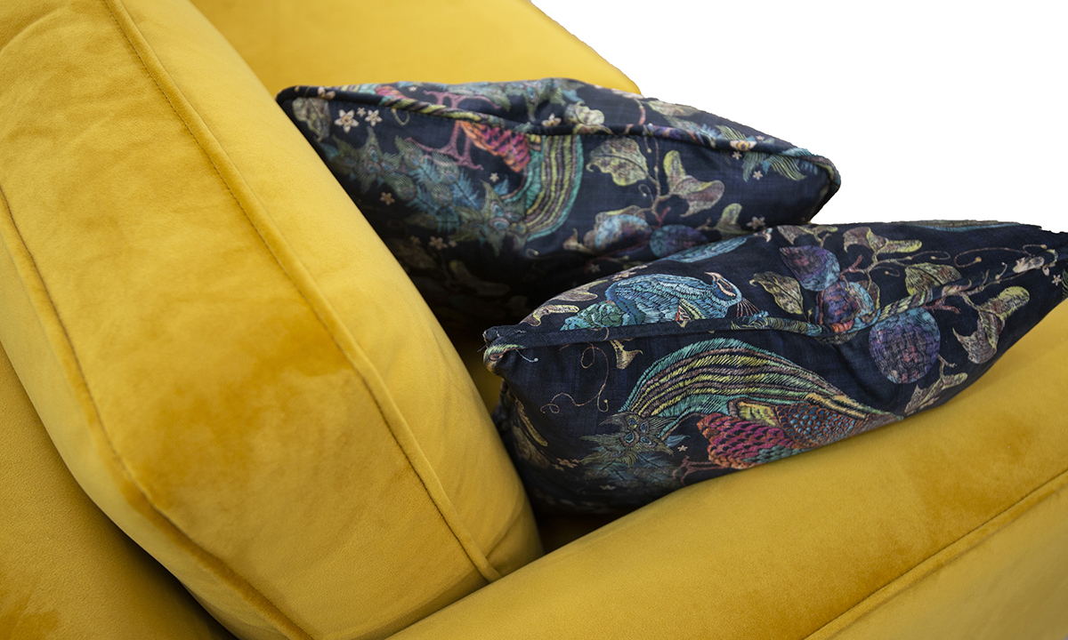 Back Cushion Detail, Arm Detail, Warwick Turmeric, Silver Collection Fabric