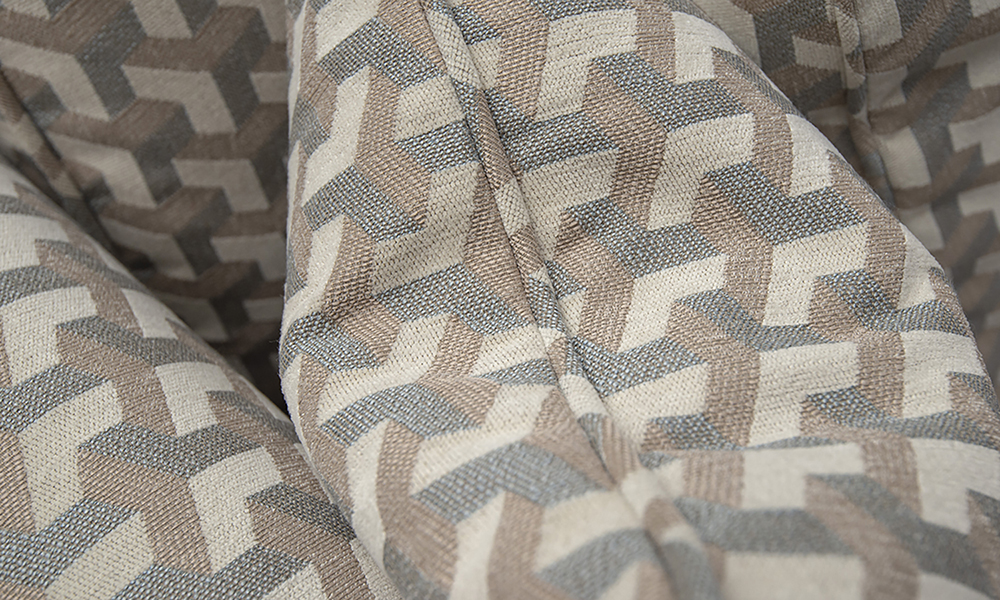 Scatter Cushion Detail in Levonne Dusk, Silver Collection Fabric