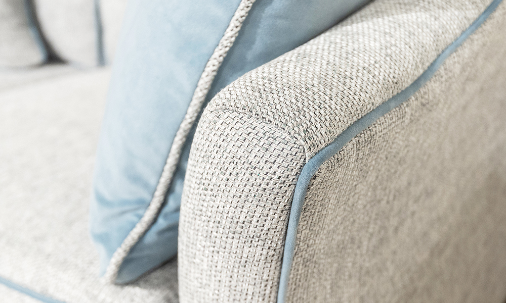 Othello Arm Detail Cushion in Bravo Duck Egg, Plush Airforce, Silver Collection Fabric