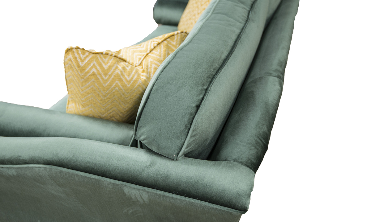 Back Cushion Detail in Erasmus Lincoln Green, Gold Collection Fabric