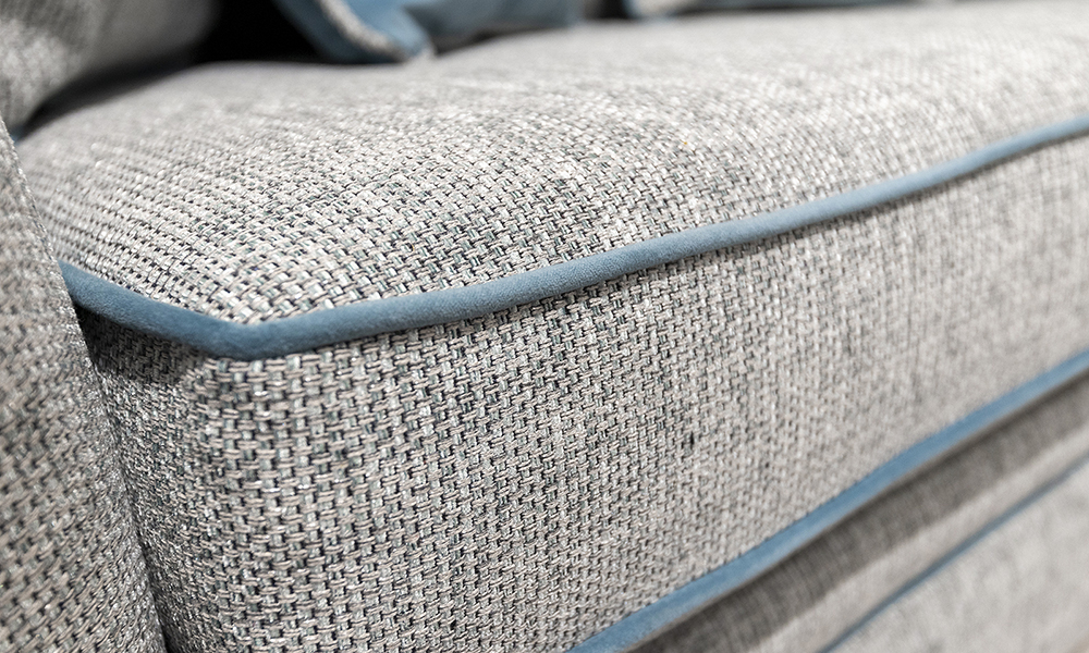 Othello Seat Cushion in Bravo Duck Egg, Piped in Plush Airforce, Silver Collection Fabric