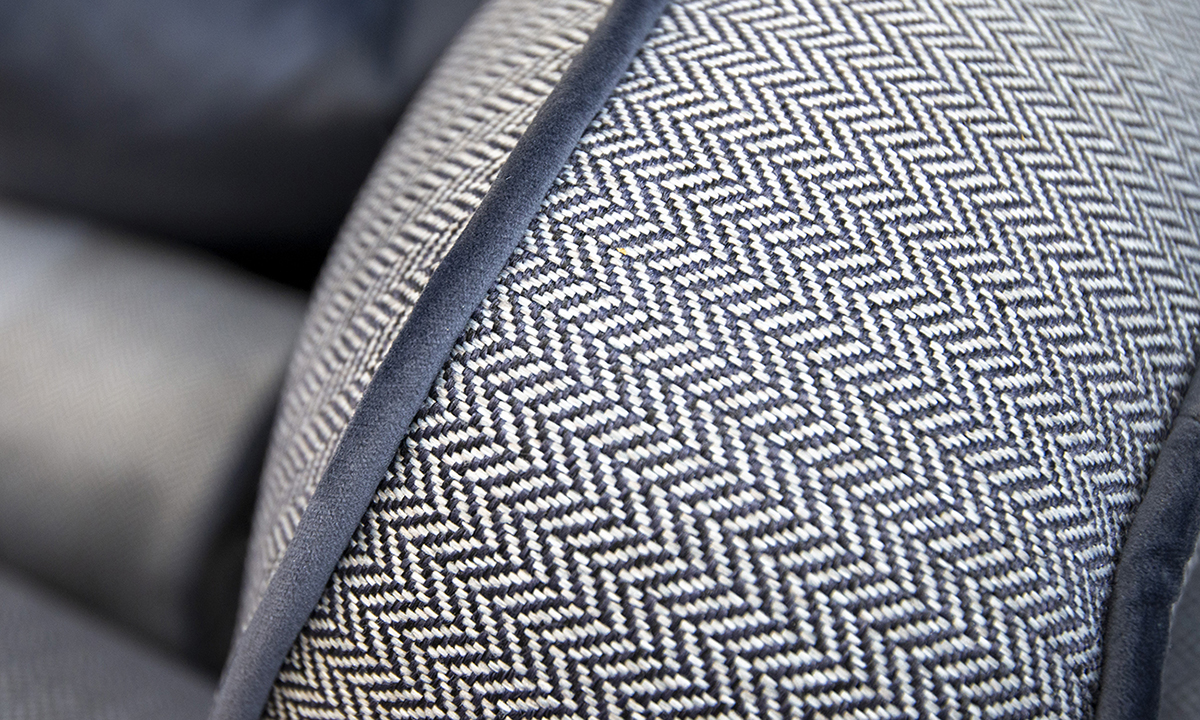 Back Cushion in Porto Charcoal, Contrast Piped in Luxor Tempest, Silver Collection Fabric