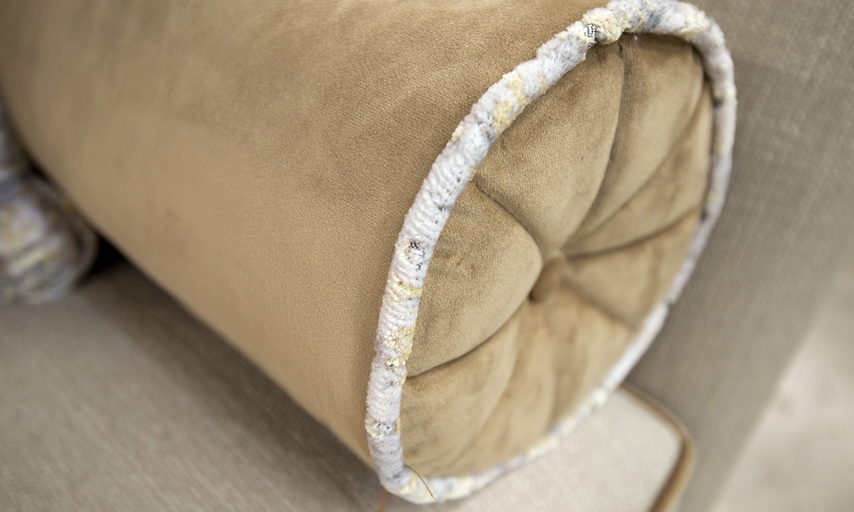 Bolster Cushion in Luxor Tobacco (Silver) & Contrast Piped Igloo Cloud (Platinum )