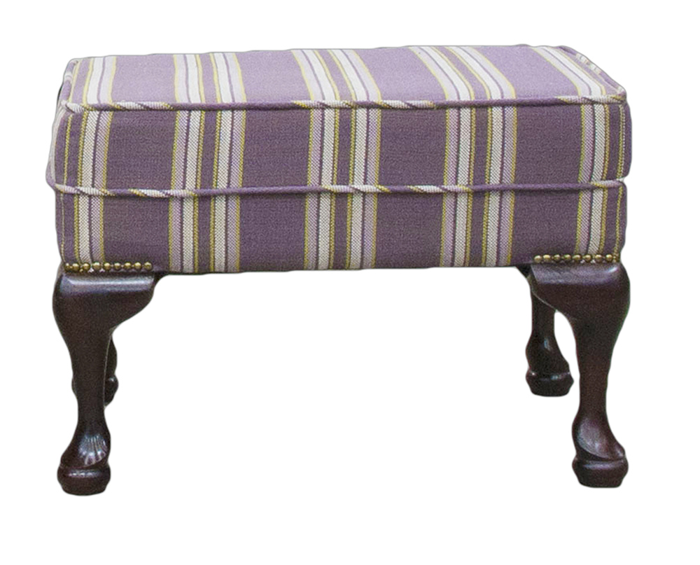 Queen Anne Footstool Varadi Stripe Purple - Silver Collection