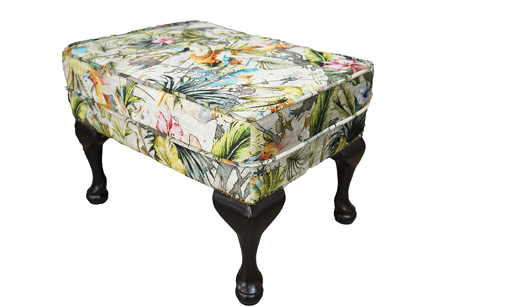 Queen Anne Footstool in Paradise Multi, Platinum Collection