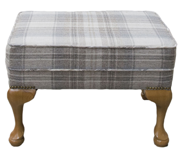Queen Anne Footsool Aviemore Plaid Linen Silver Collection