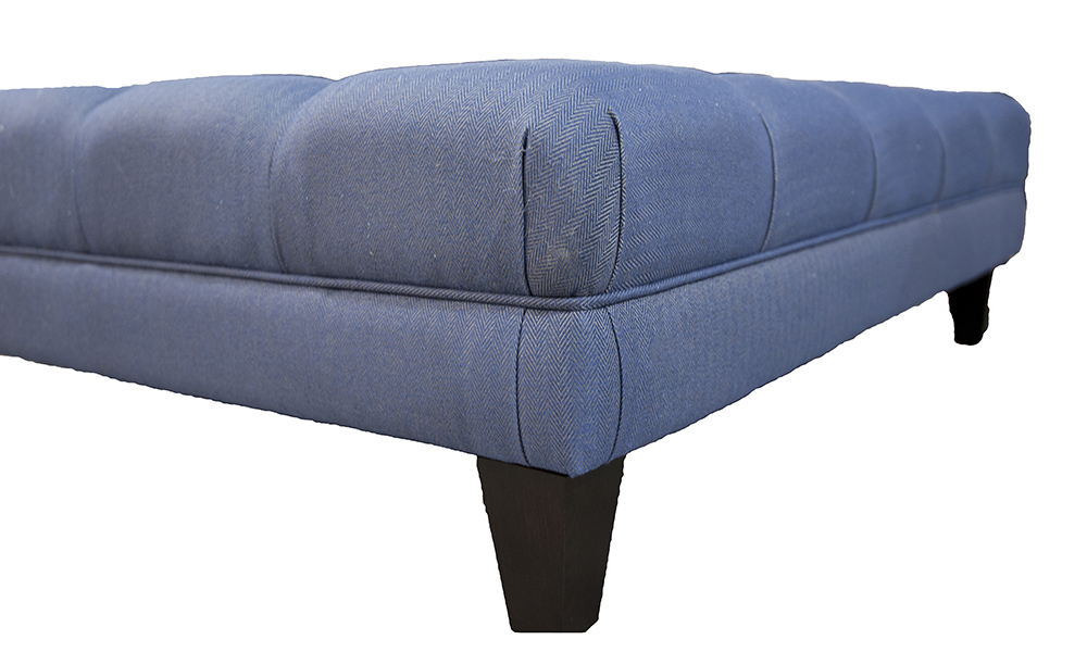Bespoke Size Ottoman in Dundee rs 13629 Herringbone, Silver Collection Fabric