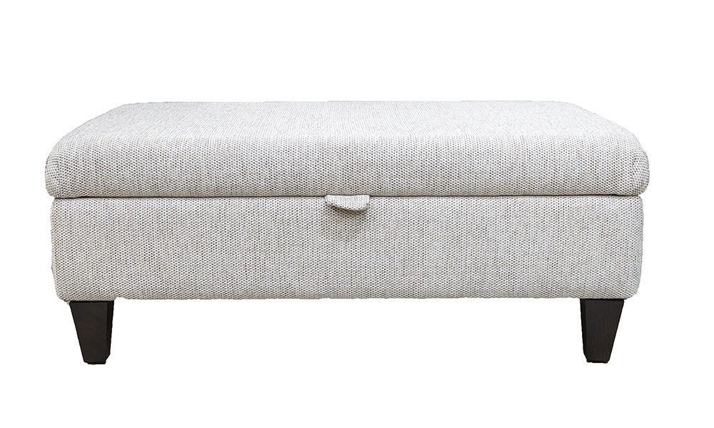 Storage Ottoman Footstool in Bravo Sand, Silver Collection Fabric