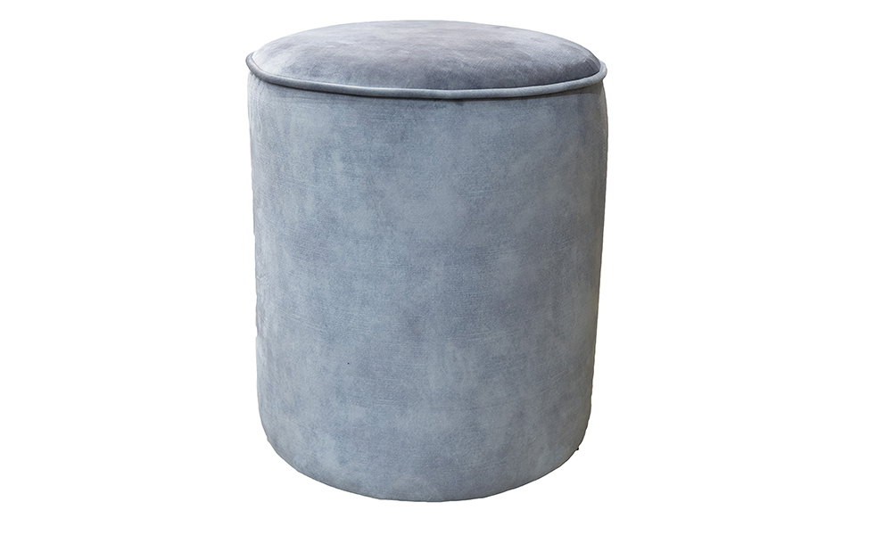 Pluto Footstool in Plush Armour, Silver Collection Fabric.
