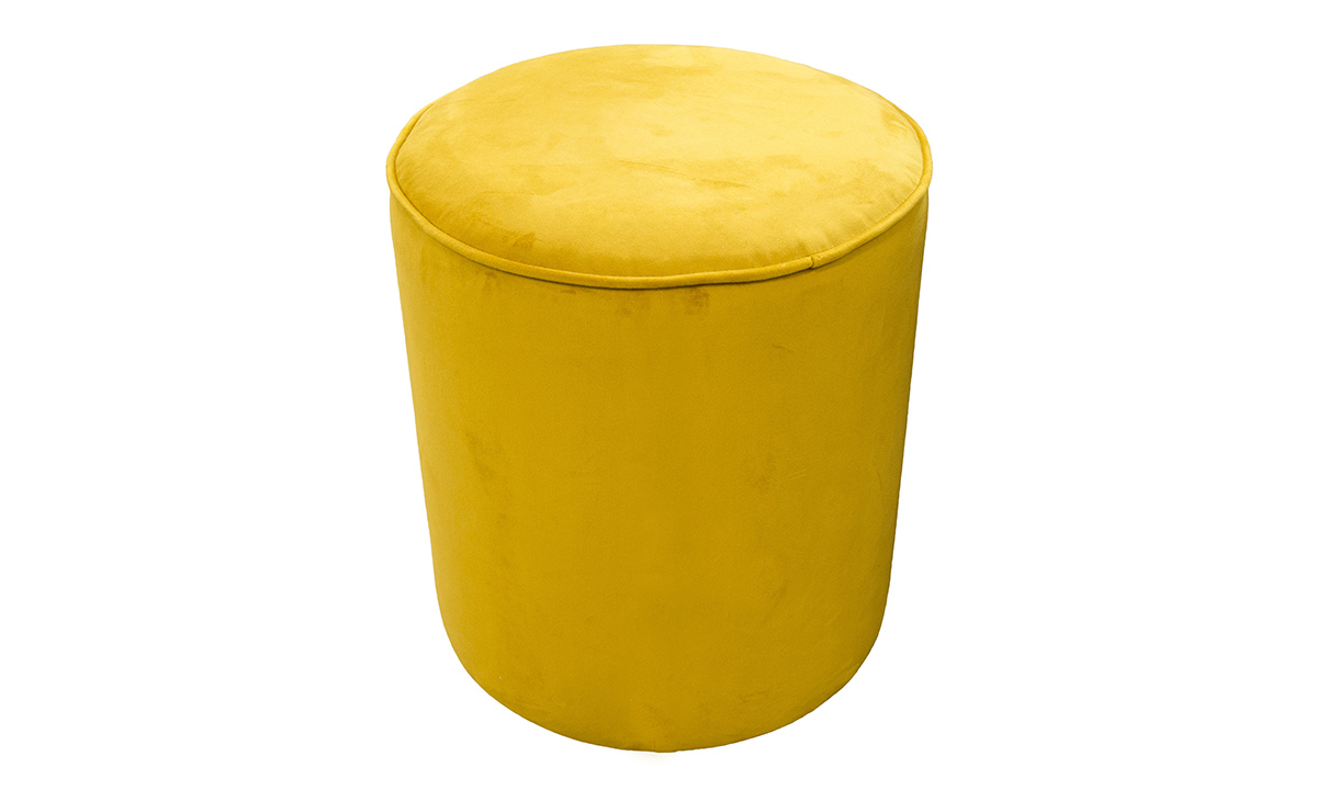 Pluto Footstool in Plush Turmeric, Silver Collection Fabric