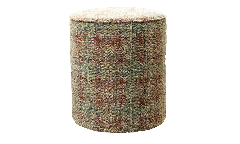 Pluto Footstool in J Brown Stirling 3 Terra Pattern, Platinium Collection.
