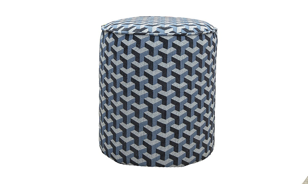 Pluto Footstool in Levonne Navy, Silver Collection of Fabrics