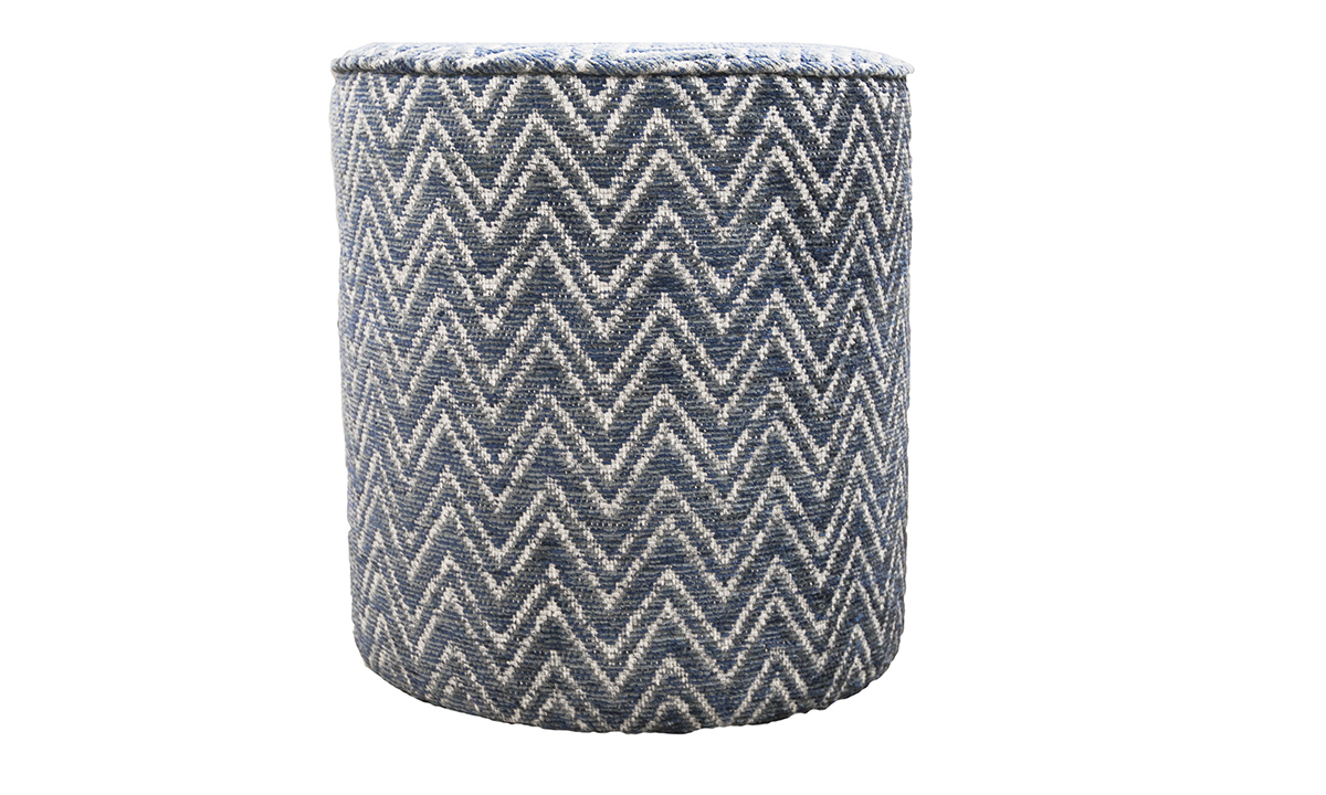 Pluto Footstool in Piper Navy, Gold Collection of FabricsJPG