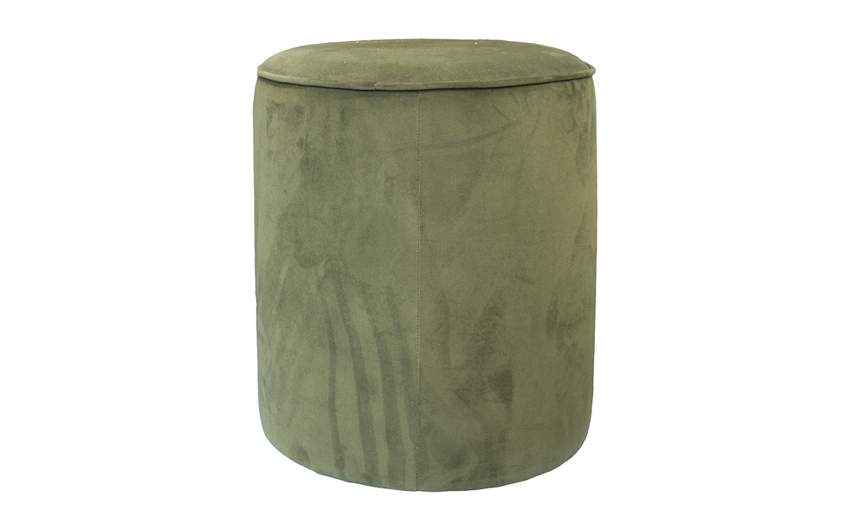 Pluto Footstool in Plush Vine, Silver Collection Fabric