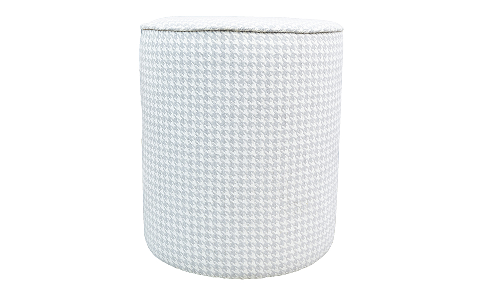 Pluto Footstool in Poppy Light Grey Silver Collection Fabric