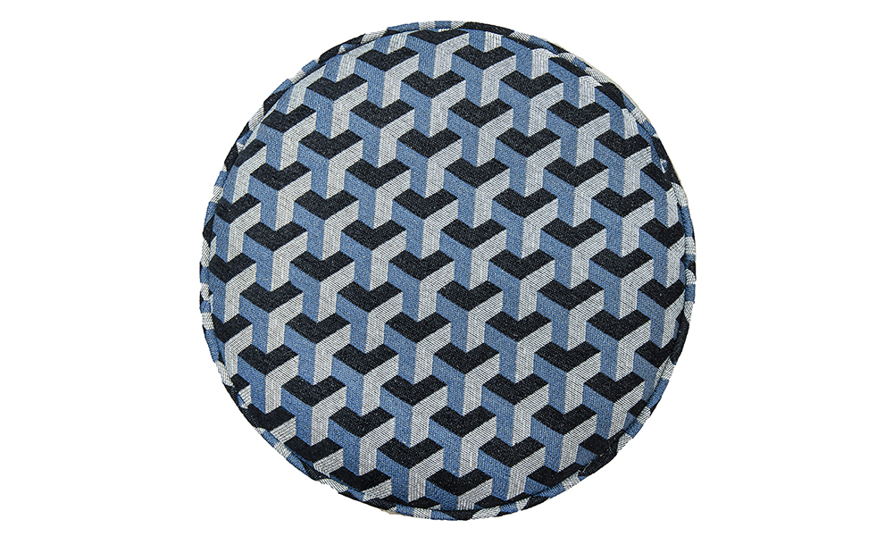 Pluto Footstool Top View in Levonne Navy Silver Collection Fabric