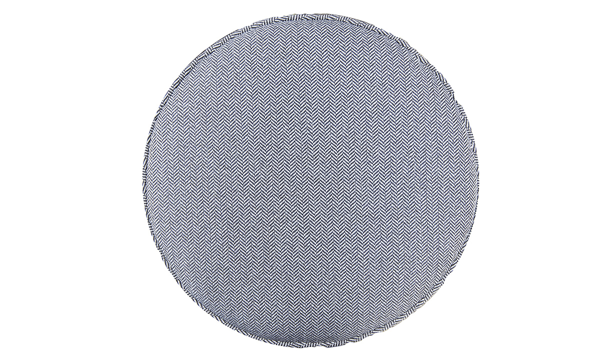 Pluto Footstool Top View in Porto Charcoal, Silver Collection Fabric