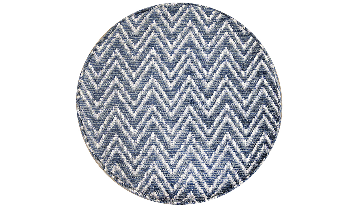 Pluto Footstool top view in Piper Navy Gold Collection Fabric