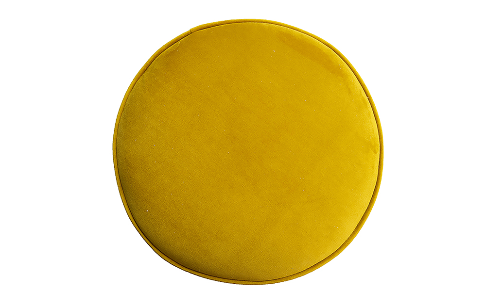 Pluto Footstool top view in Warwick Plush Turmeric Silver Collection Fabrics
