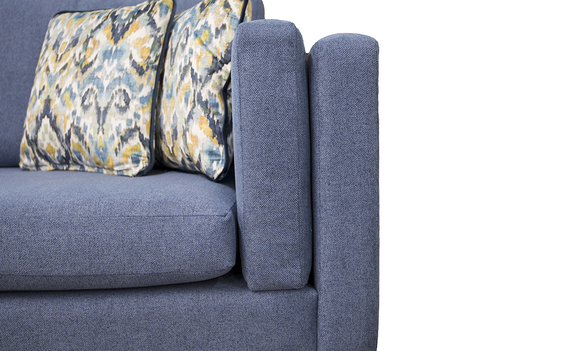 Arm Cushion in Soho Blue, Silver Collection Fabric