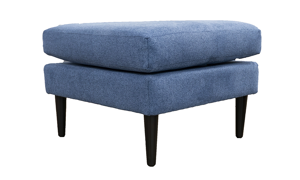 Sebastian Footstool in Soho Blue, Silver Collection Fabric