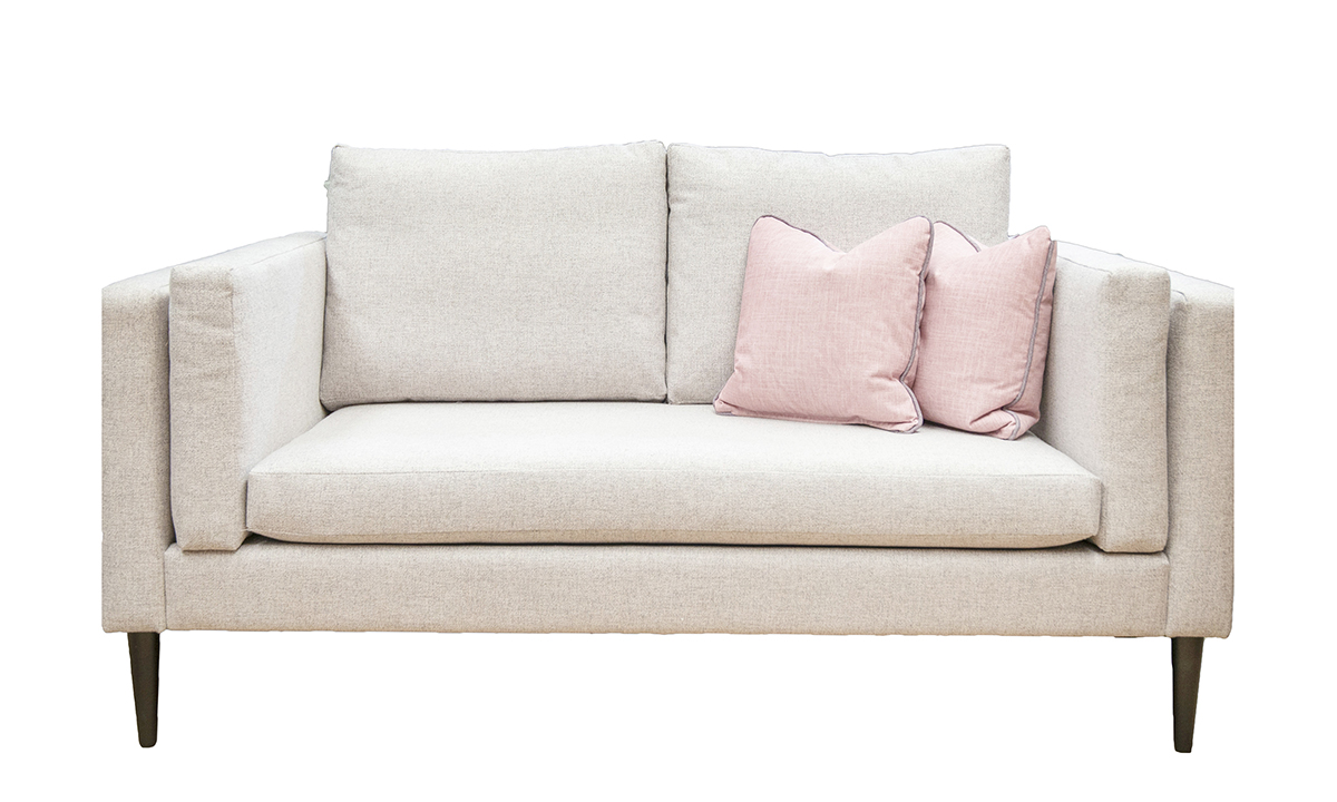 Sebastian 2 Seater Sofa in Luca Light Grey, Bronze Collection Fabric