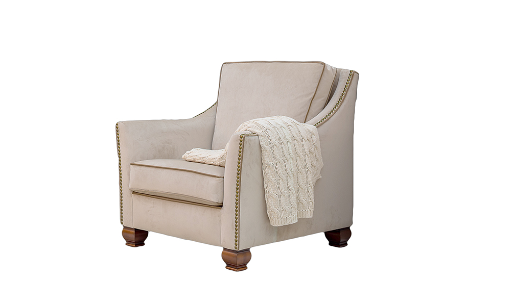 Grenada Chair in Luxor Blonde, Silver Collection Fabric